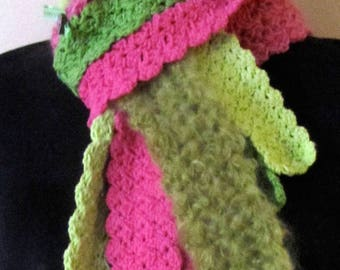Trio scarf pink and Green - eco-friendly and ethical - handmade
