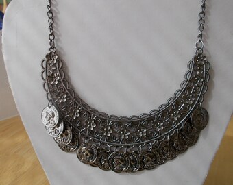 Dull  Silver Tone Bib Necklace with Coin Dangles on a Dull Silver Chain