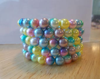 5 Row Memory Wire Cuff Bracelet with Multi Color Pastel Beads
