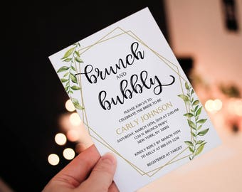 Greenery brunch and bubbly shower Invitation, Leaf Invitation, geometric, gold greenery, bridal shower invitation, OLDP300,