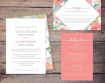 Printable Wedding Invitations Wedding Invites, Floral, Flowers, Modern Invite, DiY Wedding, Print Yourself - Tallulah