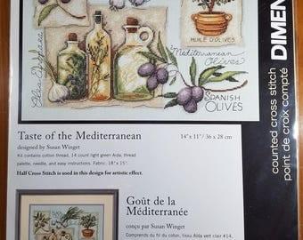 Taste of the Mediterranean Counted Cross Stitch Kit UNOPENED Olives Garlic