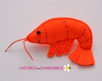Felt SHRIMP, stuffed felt Shrimp magnet or ornament, cute Shrimp,Shrimp toy, Sea creature, home decor, Shrimp,Nursery decor