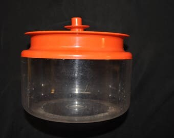 """Orange Tupperware Canister  6"""" by 4 1/2 - 6 1/4 cups"""