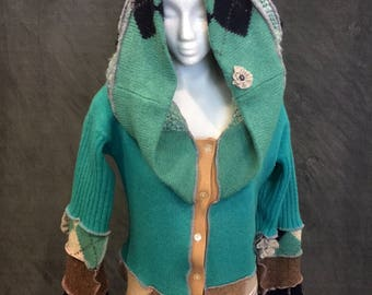 Big Hood Hoodie,Pixie Elf Hoodie,Repurposed Sweaters Hoodie,Recycled Sweater Coat,Bohemian Hoodie,Gypsy Coat,Size Small,Free Shipping  USA