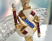 RESERVED King of Diamonds Enamel Brooch by Trifari, Playing Card King Crown Scepter, Red Blue Rhinestone Baguettes, Squares, Gamblers Brooch