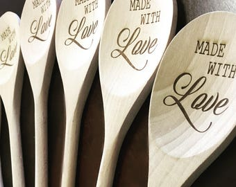 Wooden Engraved Spatulas, Made With Love
