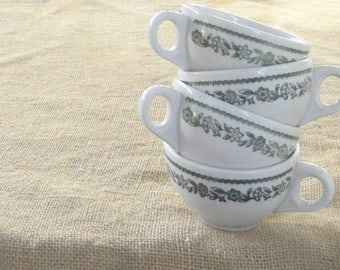 Buffalo China Green Floral Restaurant Ware Coffee Cups, Set of 4