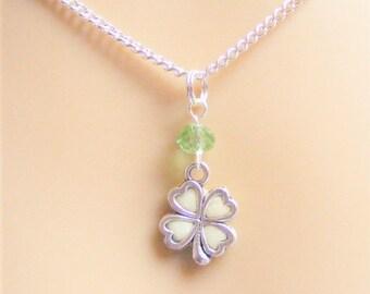 Good luck pendant etsy shamrock necklace irish shamrock glow in the dark necklace four leaf clover necklace mozeypictures Gallery