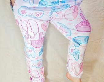 Pastel Controller Pajama Pants! Stretchy & Comfy Jogger Style Pants with Drawstring and Pockets
