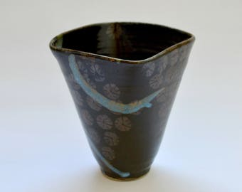 Studio Pottery Vase with Decorative Glaze