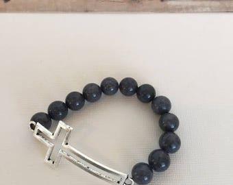 Antique Silver Cross Beaded Stretch Bracelet