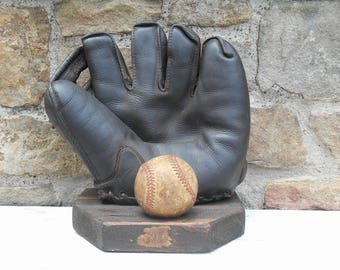 Leather Baseball Glove Mitt Wilson Streamlined Kurv Form Finger with Old Baseball on Reclaimed Wood Stand Sports Memorabilia Man Cave