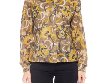 1960s Psychedelic Floral Lurex Top Size: 10