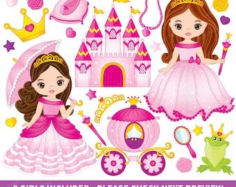 Princess Clipart - Vector Princess Clipart, Fairy Tale Clipart, Castle Clipart, Carriage Clipart, Little Princess Clipart, Princess Clip Art