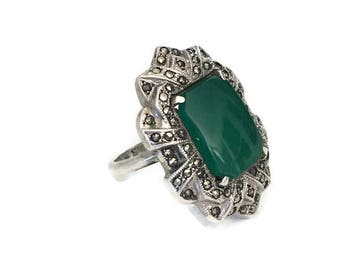 Art Deco Ring Chryosoprase and Marcasite Statement Ring SZ 5.5 1920's 1930's Elegant Gatsby Era Jewelry