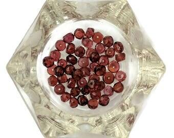 Garnet Microfaceted Rondelles, 4mm Gemstones, Packet of 49 Red Pyrope Garnet Rondelle Beads, Wine Red Roundel Gemstones