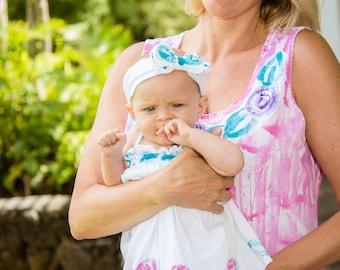 Hand Painted Woman Dress - Plus Size Dress - Hand Painted Dress - Cotton Beach Dress - Plus Size  Cover Up - Resort Wear - Pink Dress Hawaii