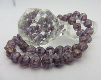 New Listing! LAVENDER  6mm Melon Beads with Golden Luster  ( 25 Beads Full Strand )  Always Low Shipping!