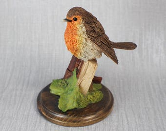 Hand Craft Small Resin Red Breasted Robin Bird Ornament by Country Artists
