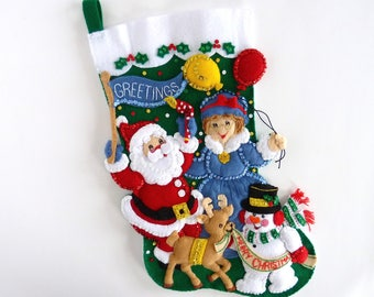 Bucilla Christmas Stockings Finished Bucilla Personalized Felt Stocking Completed Children Kids Stocking Celebration Mr Mrs Claus Snowman