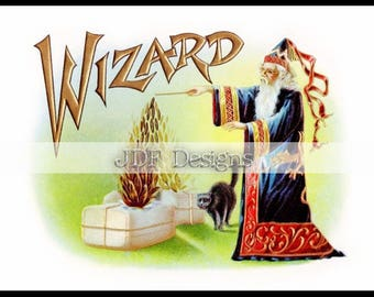 Instant Digital Download, Vintage Antique Era Graphic, Wizard Cigar Label, Black Cat Halloween, Printable Image Scrapbook, Typography, Magic