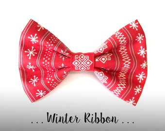 Red Winter Dog Bow Tie; Holiday Dog Collar Bow Tie: Winter Ribbon