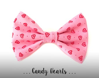 Valentine's Day Dog Bow Tie, Red and Pink Hearts Pet Bowtie: Candy Hearts