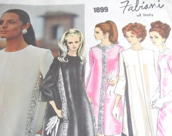 Vintage 1960's Vogue 1899 Couturier Fabiani Dress Sewing Pattern Size 14 Bust 36