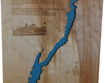 Wood Laser Cut Map of Lake George, New York Topographical Engraved Map