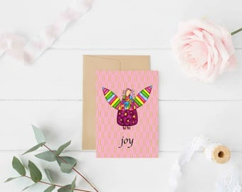 "Greeting Card ""Joy"" / Wedding Bridal Engagement Anniversary / Birthday Baby Shower Girl Angel Wings Christmas Card / Print at Home Artwork"