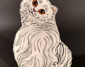 Head Turning White Long Hair Kitten Vase by Nina Lyman