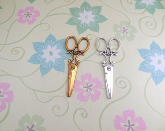 5 pcs - Gold or Silver Large Scissors Charm