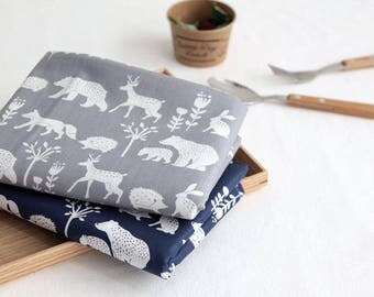 Bear, Fox, Rabbit, Deer, Porcupine Cotton Fabric, Forest Animal Cotton Fabric - Gray or Navy - By the Yard 100983