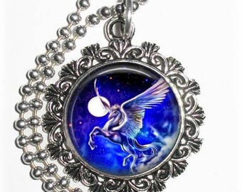 Pegasus and Moon Art Pendant, Winged Horse Photo Painting Filigree Charm, Silver and Resin Necklace, YessiJewels Jewelry
