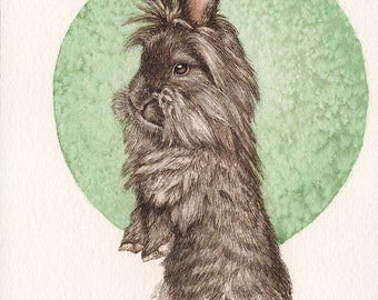 "Lionshead Rabbit - Print of Original Art 5"" x 7"" watercolor and ink Giclee archival"