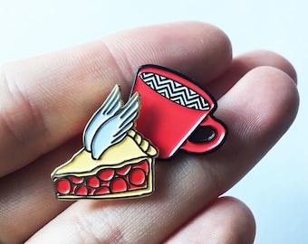 Enamel Pin Badge Set Twin Peaks Red Coffee Cup Cherry Pie Black Lodge Chevron Dougie Cooper David Lynch Owl Fan Art
