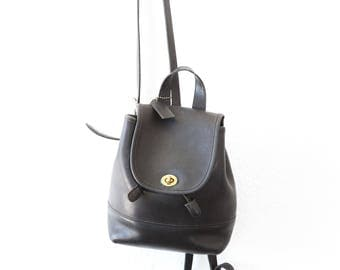Vintage COACH black leather backpack purse charm