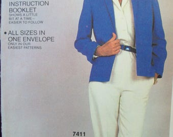 Vintage 1980s Shawl Collar Jacket McCall's Easy Fit-Easy Sew Pattern 7413 Uncut Factory Fold Sizes Petite-Large