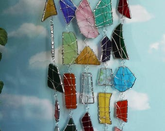 Dragonfly Wind Chime with Stained Glass Chimes Outdoor Safe