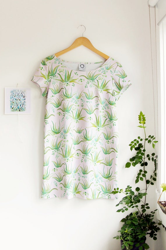 SALE! -Aloe Vera Short Sleeved Shift Dress in Organic Cotton Jersey.