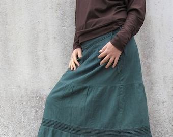 Boho long skirt - Gitana skirt-  gypsy skirt-long skirt-Green forest fairy -tribal skirt