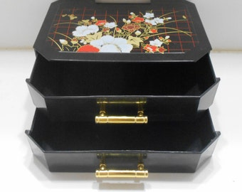 Vintage Black Plastic Jewelry Box (26) Two Drawers---China