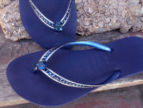 Blue Flip Flops Crystal Havaianas Slim Navy Montana Ocean Sea w/ Swarovski Baguette Sophisticate Wedding Sandal Jewel Rhinestone Beach Shoes