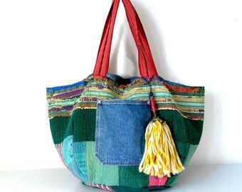 reversible kantha bag, reversible bag, recycled tote, beach bag, kantha, kantha quilt, kantha purse