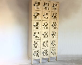 Tennsco Box Locker, Vintage 6 Tier 3 Wide Locker With Legs and Combination Locks, Steel Box Locker, Garage Gym Employee Storage Locker