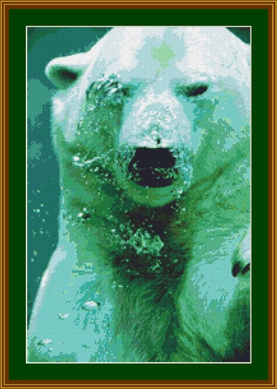 Polar Bear Under Water Cross Stitch Pattern /Digital PDF Files /Instant downloadable