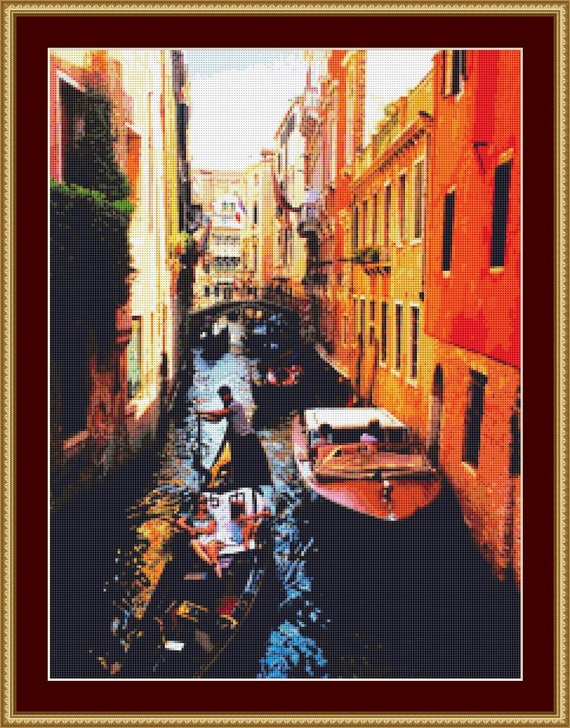 Busy Canal In Venice Cross Stitch Pattern /Digital PDF Files /Instant downloadable