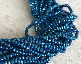 2 mm x 3 mm faceted rondelle crystal glass beads metallic blue bright medium electric, full 15-inch strand, approximately 200 beads