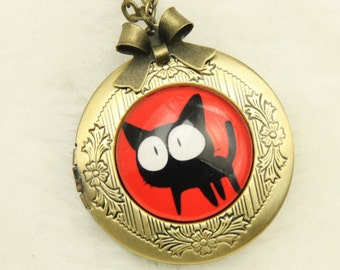 Necklace locket black cat